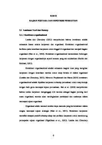 BAB II KAJIAN PUSTAKA DAN HIPOTESIS PENELITIAN. Lamba dan Choudary (2013) menyebutkan bahwa komitmen adalah