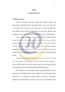 BAB II KAJIAN PUSTAKA. dikemukakan oleh Radford (2004:1) mengatakan bahwa syntax is the study of the