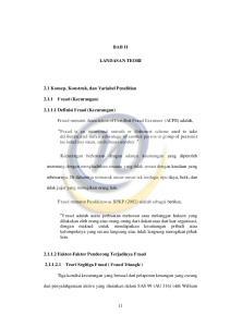 BAB II LANDASAN TEORI. Fraud menurut Association of Certified Fraud Examiner (ACFE) adalah,