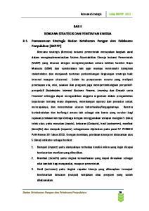 BAB II RENCANA STRATEGIS DAN PENETAPAN KINERJA Perencanaan Strategis Badan Ketahanan Pangan dan Pelaksana Penyuluhan (BKPPP)