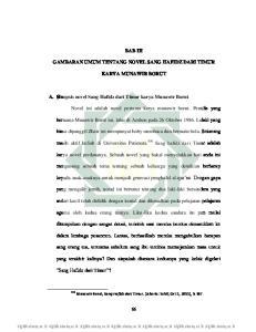 BAB III GAMBARAN UMUM TENTANG NOVEL SANG HAFIDZ DARI TIMUR KARYA MUNAWIR BORUT. A. Sinopsis novel Sang Hafidz dari Timur karya Munawir Borut