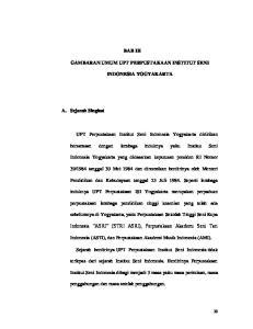 BAB III GAMBARAN UMUM UPT PERPUSTAKAAN INSTITUT SENI INDONESIA YOGYAKARTA