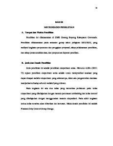BAB III METEDOLOGI PENELITIAN. Penelitian ini dilaksanakan di SMK Gotong Royong Kabupaten Gorontalo