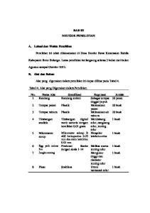 BAB III METODE PENELITIAN. Alat yang digunakan dalam penelitian ini dapat dilihat pada Tabel 4. Tabel 4. Alat yang Digunakan dalam Penelitian