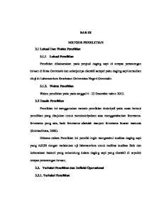 BAB III METODE PENELITIAN. diuji di Laboratorium Kesehatan Universitas Negeri Gorontalo. Waktu penelitian yaitu pada tanggal 4-23 Desember tahun 2013