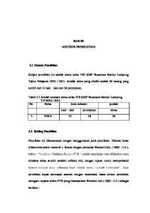 BAB III METODE PENELITIAN. Subjek penelitian ini adalah siswa kelas VIII SMP Nusantara Bandar Lampung
