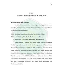 BAB IV ANALISIS DATA DAN PAPARAN HASIL PENELITIAN Gambaran Umum Badan Narkotika Nasional Kota Malang