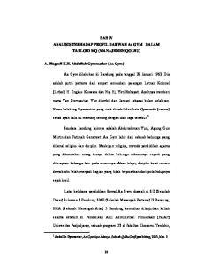 BAB IV ANALISIS TERHADAP PROFIL DAKWAH Aa GYM DALAM TABLOID MQ (MANAJEMEN QOLBU) A. Biografi K.H. Abdullah Gymnastiar (Aa Gym)