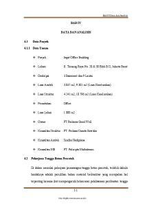 BAB IV DATA DAN ANALISIS. : Jagat Office Building. : 3 Basement dan 9 Lantai. : m2, m2 (Luas Keseluruhan)
