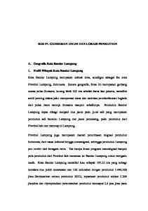 BAB IV. GAMBARAN UMUM DAN LOKASI PENELITIAN. Kota Bandar Lampung merupakan sebuah kota, sekaligus sebagai ibu kota