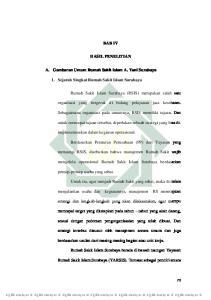 BAB IV HASIL PENELITIAN. A. Gambaran Umum Rumah Sakit Islam A. Yani Surabaya. 1. Sejarah Singkat Rumah Sakit Islam Surabaya