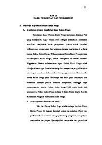 BAB IV HASIL PENELITIAN DAN PEMBAHASAN. 1. Gambaran Umum Kepolisian Resor Kulon Progo