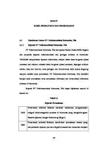 BAB IV HASIL PENELITIAN DAN PEMBAHASAN. 4.1 Gambaran Umum PT Telekomunikasi Indonesia, Tbk Sejarah PT Telekomunikasi Indonesia, Tbk