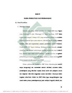 BAB IV HASIL PENELITIAN DAN PEMBAHASAN. yang bertempat di jalan Manunggal 02 Ngoro Jombang. SMP Islam