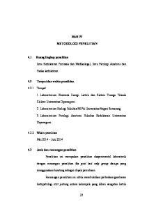 BAB IV METODOLOGI PENELITIAN. Ilmu Kedokteran Forensik dan Medikolegal, Ilmu Patologi Anatomi dan