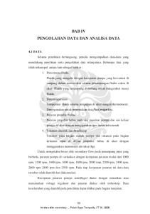 BAB IV PENGOLAHAN DATA DAN ANALISA DATA