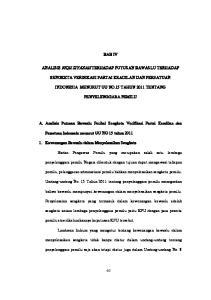 BAB IV SENGKETA VERIFIKASI PARTAI KEADILAN DAN PERSATUAN INDONESIA MENURUT UU NO.15 TAHUN 2011 TENTANG PENYELENGGARA PEMILU