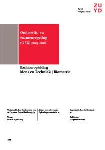 Bacheloropleiding Mens en Techniek Biometrie