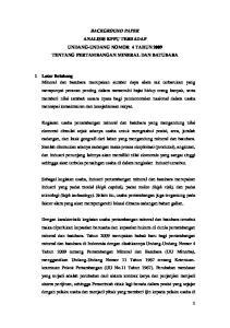 BACKGROUND PAPER ANALISIS KPPU TERHADAP UNDANG-UNDANG NOMOR 4 TAHUN 2009 TENTANG PERTAMBANGAN MINERAL DAN BATUBARA