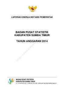 BADAN PUSAT STATISTIK KABUPATEN SUMBA TIMUR TAHUN ANGGARAN 2014