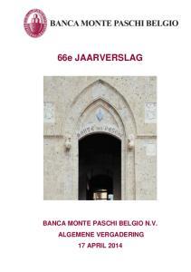 BANCA MONTE PASCHI BELGIO N.V. ALGEMENE VERGADERING 17 APRIL
