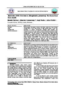 Barcode DNA Edelweis (Anaphalis javanica) Berdasarkan Gen matk
