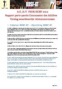 BDSF 2012 Rapport porte-parole Commission des Athlètes Verslag woordvoerder Atletencommissie