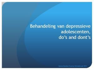 Behandeling van depressieve adolescenten, do s and dont s