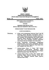 BERITA DAERAH KABUPATEN GUNUNGKIDUL ( Berita Resmi Pemerintah Kabupaten Gunungkidul ) Nomor : 59 Tahun : 2014