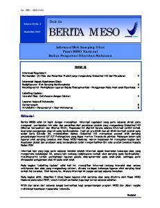BERITA MESO. Informasi Efek Samping Obat Pusat MESO Nasional Badan Pengawas Obat dan Makanan. Daftar Isi