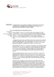 Besluit. datum Samenvattend advies van de visitatiecommissie