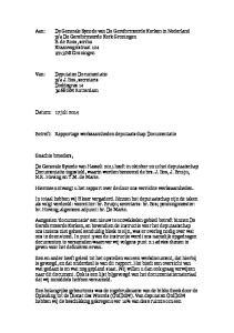 Betreft: Rapportage werkzaamheden deputaatschap Documentatie