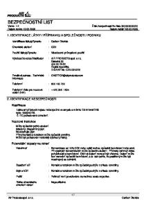 BEZPEČNOSTNÍ LIST Verze 1.2 Číslo bezpečnostního listu Datum revize Datum vydání