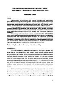 BIAYA SOSIAL SEBAGAI BAGIAN CORPORATE SOCIAL RESPONSIBILITY DALAM SUDUT PANDANG AKUNTANSI. Anggraeni Yunita