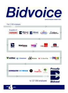 Bidvoice. to employees. From employees. Acquisition of. issue QUARTERLY MAGAZINE FOR BIDVEST PEOPLE