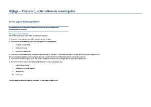 Bijlage Projecten, activiteiten en maatregelen