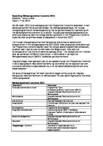 Bijstelling Werkprogramma Economie 2015 Opsteller: Tjeerd Leistra Datum: 7 mei 2015