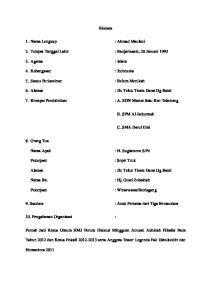 Biodata. 2. Tempat Tanggal Lahir : Banjarmasin, 20 Januari Alamat : Jln Teluk Tiram Darat Gg Bakti