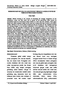 BIOREMEDIASI METANA DI LAHAN SAWAH SEBAGAI LANGKAH MITIGASI TERHADAP PEMANASAN GLOBAL. Muh. Nasir