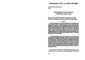 Bohemistyka 2013, nr 3, ISSN Faktografická literární výchova v èeské škole a její kritika. Ursula STOHLER, Ondøej HNÍK Praha