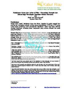 Box 1 : Pernyataan Ketua Pusdalkarhutla terhadap kebakaran hutan dan lahan di riau Sebuah Pernyataan yang kontroversial