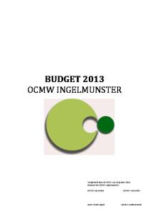 BUDGET 2013 OCMW INGELMUNSTER