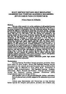 BUKTI EMPRIS TENTANG SELF REGULATED LEARNING DAN PRESTASI AKADEMIK MAHASISWA (STUDI KASUS PADA UNIVERSITAS X)