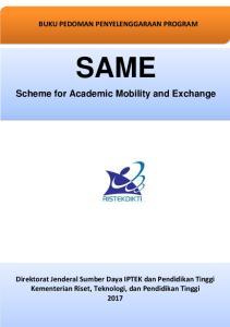 BUKU PEDOMAN PENYELENGGARAAN PROGRAM SAME. Scheme for Academic Mobility and Exchange