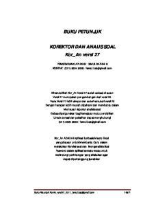 BUKU PETUNJUK. KOREKTOR DAN ANALIS SOAL Kor_An versi 27