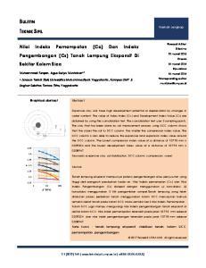 BULETIN TEKNIK SIPIL. Nilai Indeks Pemampatan (Cc) Dan Indeks Pengembangan (Cs) Tanah Lempung Ekspansif Di Sekitar Kolom Sicc