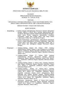 BUPATI BANGKA PROVINSI KEPULAUAN BANGKA BELITUNG SALINAN PERATURAN BUPATI BANGKA NOMOR 61 TAHUN 2016