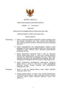 BUPATI BANTUL PERATURAN DAERAH KABUPATEN BANTUL NOMOR 07 TAHUN 2014 TENTANG PENATAAN DAN PEMBERDAYAAN PEDAGANG KAKI LIMA