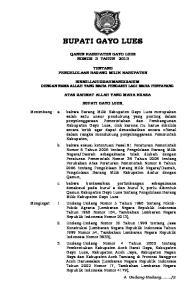 BUPATI GAYO LUES QANUN KABUPATEN GAYO LUES NOMOR 3 TAHUN 2013 TENTANG PENGELOLAAN BARANG MILIK KABUPATEN