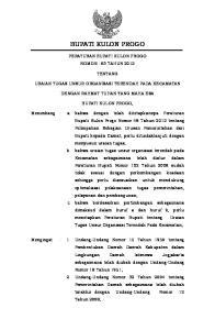 BUPATI KULON PROGO PERATURAN BUPATI KULON PROGO NOMOR : 63 TAHUN 2012 TENTANG URAIAN TUGAS UNSUR ORGANISASI TERENDAH PADA KECAMATAN